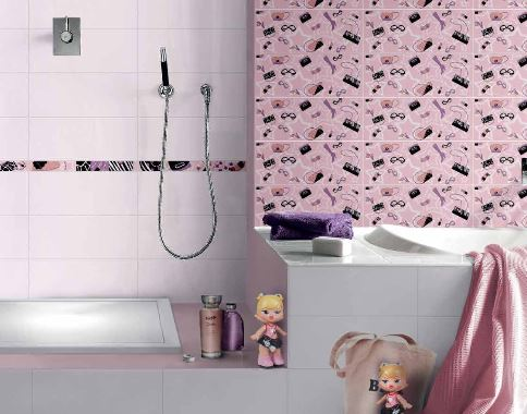 Carrelage décoré Brennero pour filles, carreaux décorés girly