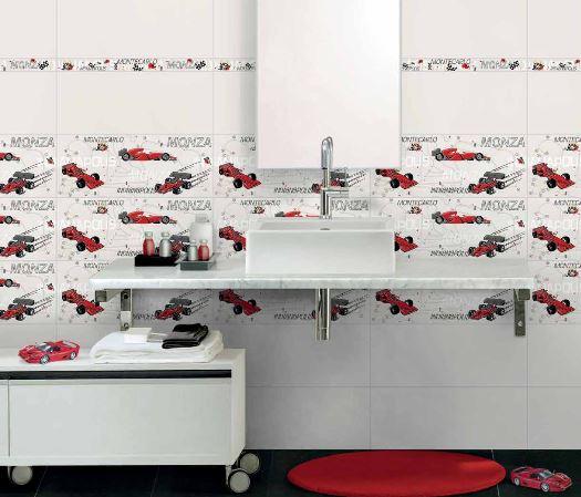 Carrelage décoré Brennero Formule 1, carreaux décorés pour garçons